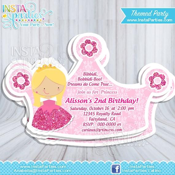 Invitaciones princesa Aurora fiesta cumple corona tiara