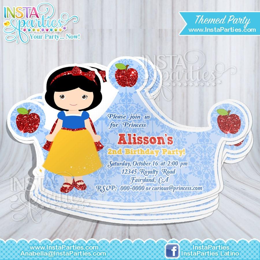 Snow White invitations Princess crown tiara Princess cut out ...