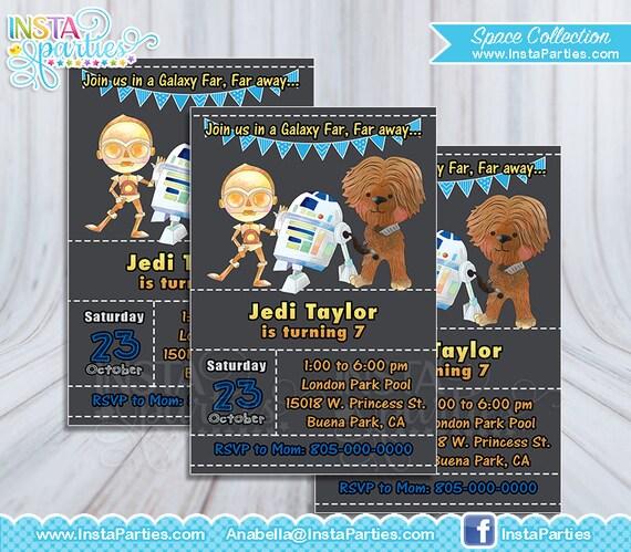 Invitaciones Guerra Galaxias Invitación Star Wars Fuerza Despierta Invitaciones Guerra La Fuerza Renace Fiesta Cumple Cumpleaños Tarjeta