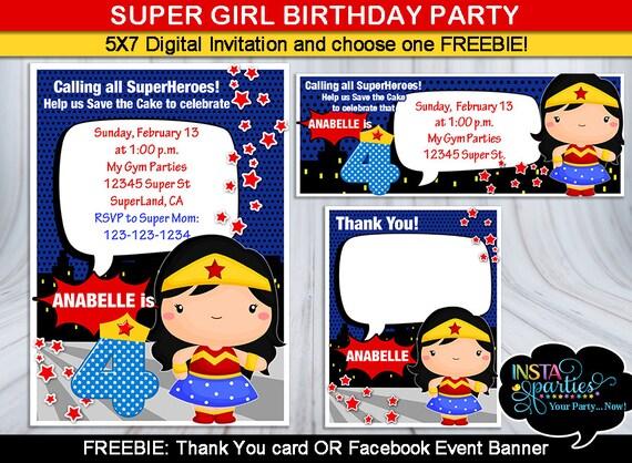 Invitaciones La Mujer maravilla invitacion fiesta cumpleaños Etsy