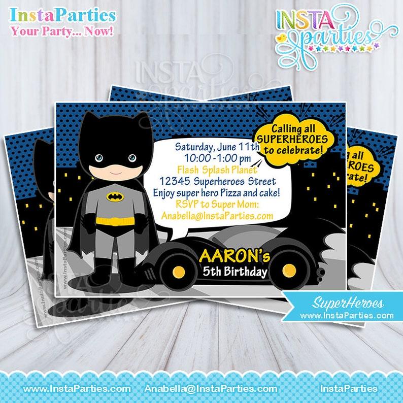 Batman Invitations Little Toddler Boy Superheroes Invitation
