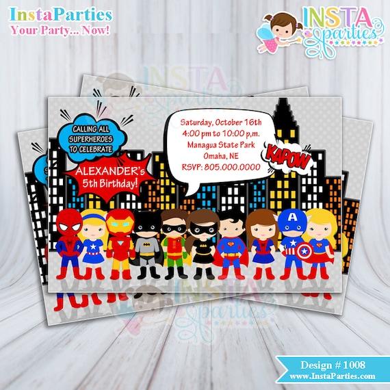 Invitaciones Superheroe Fiesta Disfraces Nino Invitación Niña Disfraz Tarjeta Tarjetas Imprimible Super Heroes 4x6 5x7 Cumpleanos Cumple