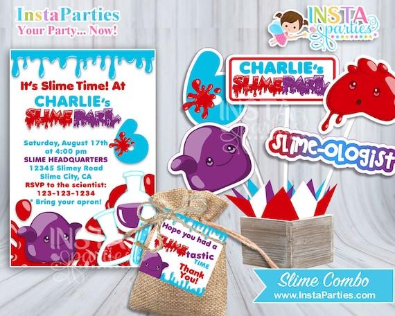 Invitaciones Fiesta Slime Tarjetas Cumple Niño Hermanos Niña Hermanas Invitación Fiesta Cumple Cumpleaños Niña Digital Centro Mesa Etiquetas