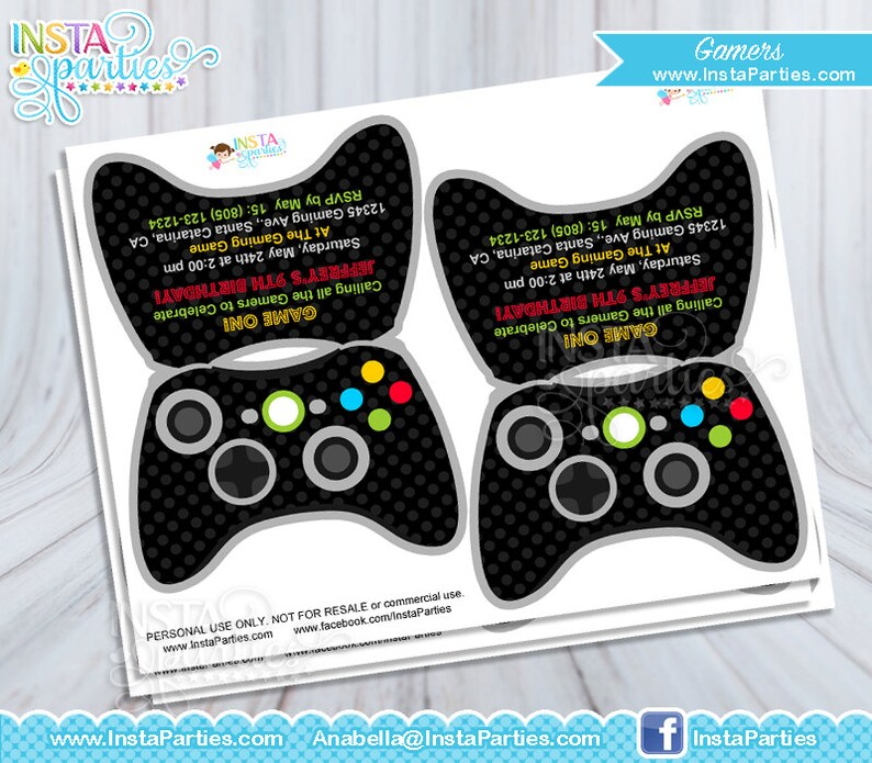 Gamer Xbox Invitations Control Game Truck Birthday