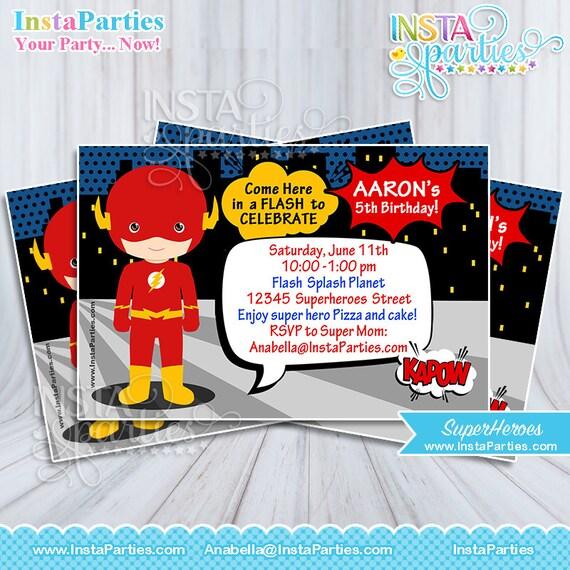 Invitaciones Flash Superheroe Bebe Nino Invitacion Tarjeta Tarjetas Imprimible Super Heroes 4x6 5x7 Fiesta Superheroes Cumpleanos Cumple