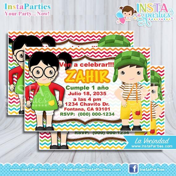 Invitaciones El Chavo Del 8 Ocho Fiesta Tarjetas Invitación Cumple Cumpleaños La Chilindrina Decoraciones La Vecindad Del Chavito Animado