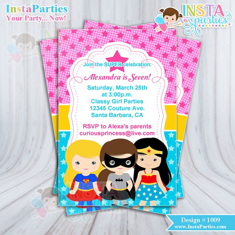 Superhero Girl Invitations Supergirl Invitation Invites Etsy
