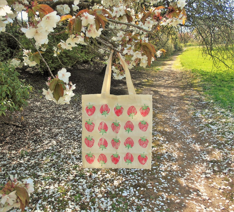 Strawberry Tote Bag  Handprinted 100% Recycled Cotton   Cute image 0