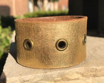 Amazing Gold Leather Cuff Bracelet with Brass Accents*Boho Jewelry*Leather Jewelry*Gift for Her*Vintage*Handmade*Repurposed*OOAK Gift*