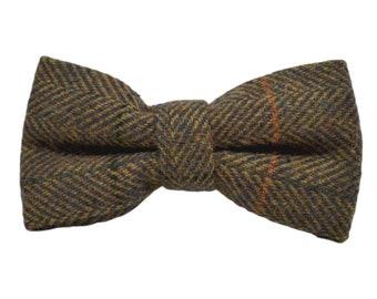 7c3a8d2667ce Dijon Brown Herringbone Check Bow Tie