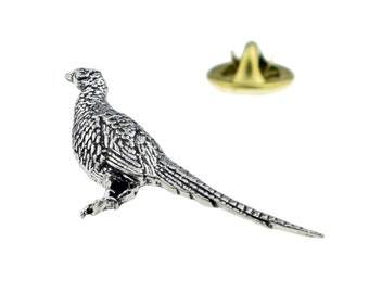 Standing Pheasant Pewter Pin Brooch Shooting Game Bird British Hand Crafted