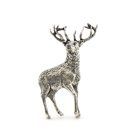 Stags Head Design LAPEL PIN BADGE Hunter Gamekeeper Christmas Birthday Present