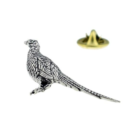 Standing Pheasant Pewter Shooting Pin Badge