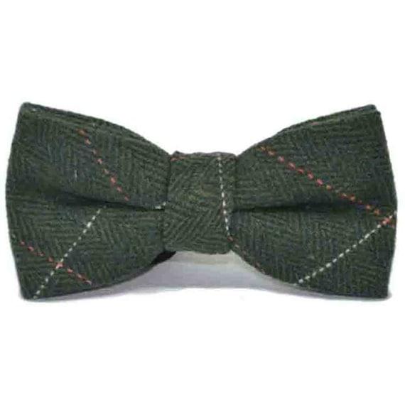 Tweed Luxury Herringbone Chocolate Brown Bow Tie