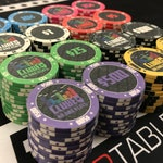 100 Poker Chips: ClubEQ - Customized artwork design of ceramic chips for cash game, tournament, or casino chip set chipset