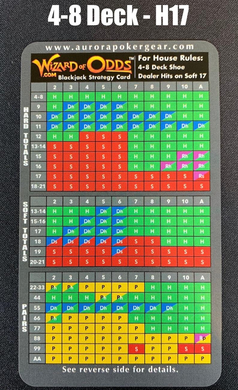 Wizard of Odds Blackjack Strategy Cards  4-8 Deck Dealer image 0