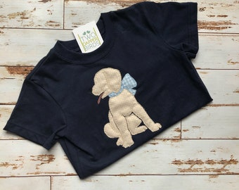 Puppy Dog with Bow Applique