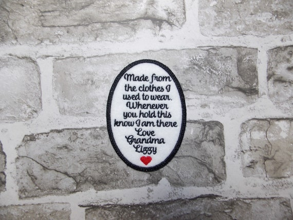 """4/"""" Square Shaped Personalised Memory Patch for Cushions /& Bears When Tomorrow"""