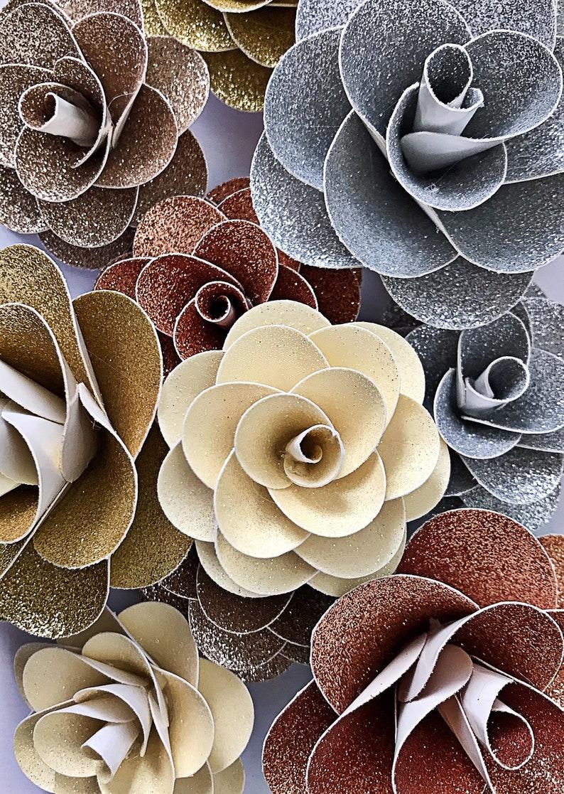 Handmade Glitter Paper Flowers Large