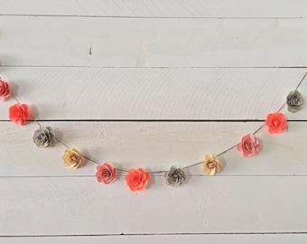 Customizable Handmade Paper Flower Garland- 6 ft.