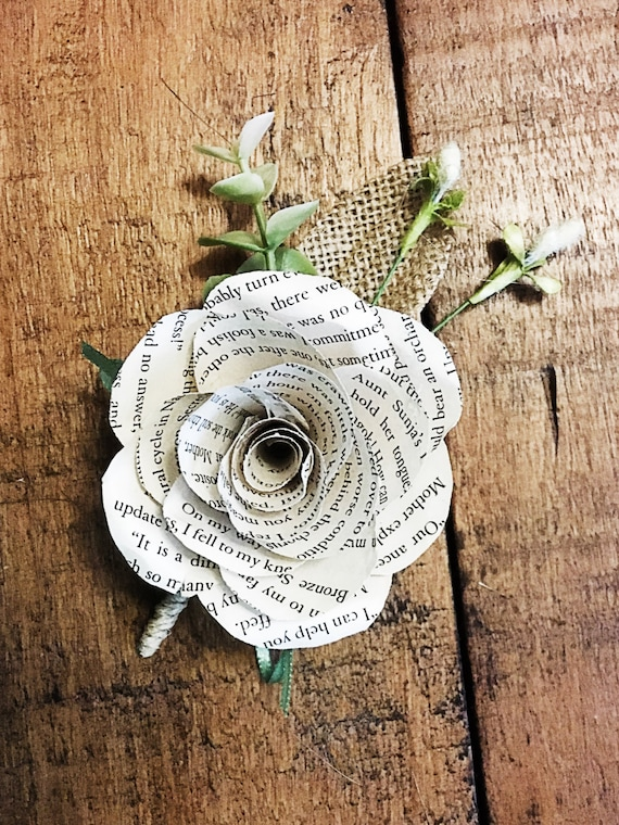 Book page paper flower boutonniere customizable etsy mightylinksfo