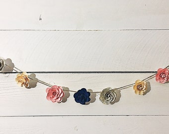 Paper Flower Garland- 6 ft. sheet music (handmade)