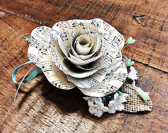 Sheet Music Paper Flower Boutonniere- Customizable