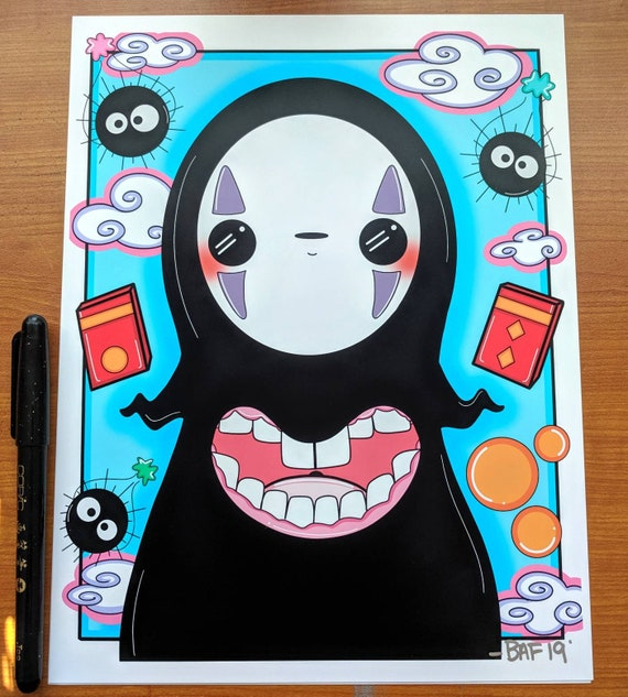 Spirited Away No Face Anime Art Kawaii Art Print Studio Etsy