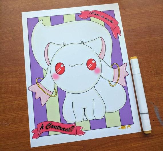 Puella Magi Madoka Magica Art Anime Fan Art Kyubey Kawaii Etsy