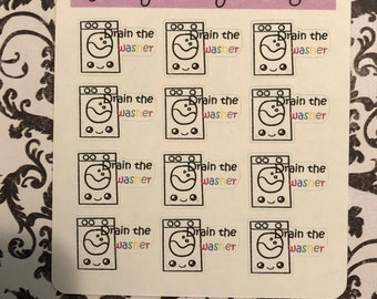 Kawaii Drain the Washer Planner Stickers