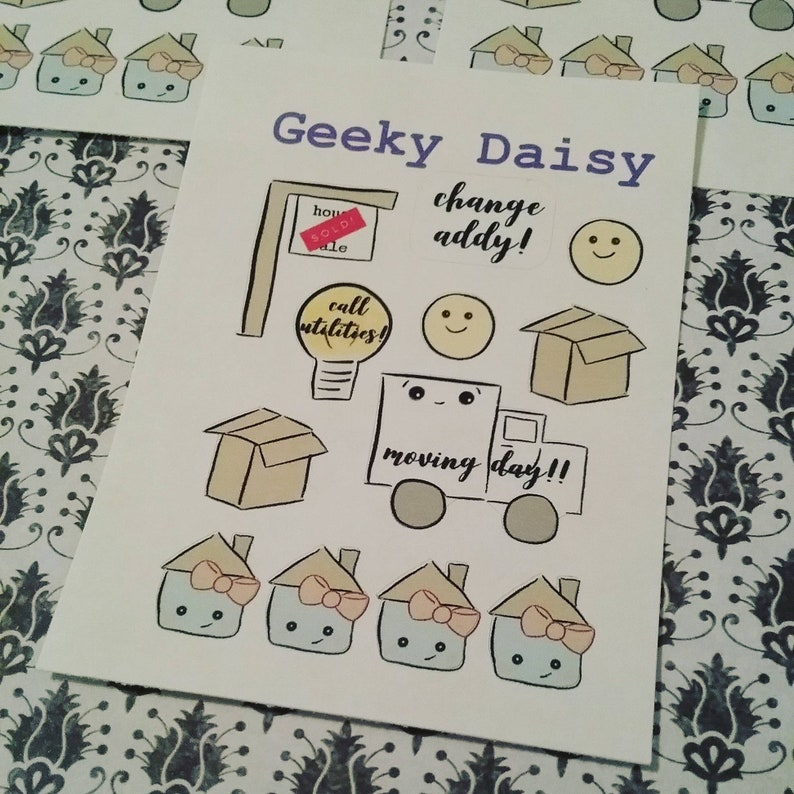 Kawaii moving day planner stickers image 0