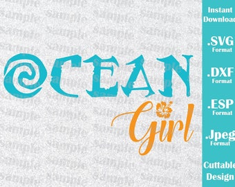INSTANT DOWNLOAD SVG Disney Inspired Princess Moana Ocean Girl For Cutting Machines Svg Esp Dxf And Jpeg Format Cricut Silhouette