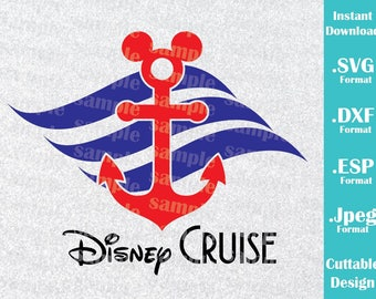 INSTANT DOWNLOAD SVG Disney Inspired Mickey Anchor Ears Disney Cruise Family Vacation for Cutting Machines Svg, Esp, Dxf, Jpeg Format
