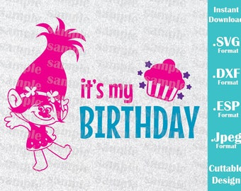 INSTANT DOWNLOAD Svg Trolls Princess Poppy Birthday Girl Inspired Trolls Party Cutting Machines Svg, Esp, Dxf, Jpeg Format Cricut Silhouette