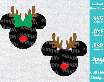 INSTANT DOWNLOAD SVG Disney Inspired Christmas Reindeer Mickey and Minnie Ears Cutting Machines Svg, Esp, Dxf, Jpeg Format Cricut Silhouette