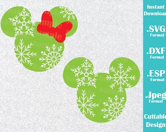 INSTANT DOWNLOAD SVG Disney Inspired Christmas Minnie and Mickey Ears Cutting Machines Svg, Esp, Dxf and Jpeg Format Cricut Silhouette