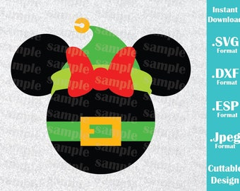 INSTANT DOWNLOAD SVG Disney Inspired Christmas Elf Minnie Mouse Ears Cutting Machines Svg, Esp, Dxf and Jpeg Format Cricut Silhouette