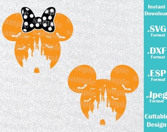 INSTANT DOWNLOAD SVG Disney Inspired Halloween Castle Minnie and Mickey Ears Cutting Machines Svg, Esp, Dxf, Jpeg Format Cricut Silhouette