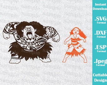 INSTANT DOWNLOAD SVG Disney Inspired Princess Moana and Maui Movie for Cutting Machines Svg, Esp, Dxf and Jpeg Format Cricut Silhouette