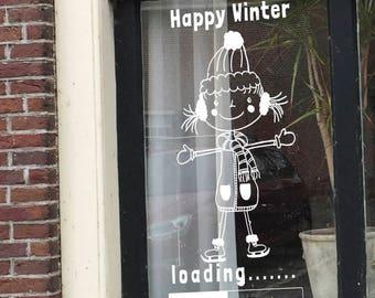 Happy winter, raamtekening winter, krijtstifttekening winter, winterraam, woondecoratie winter, loading versiering, winter loading