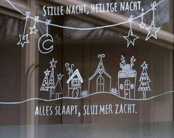 Stille nacht, kerstliedje op raam, raamtekening kerst, kerstmis krijtstifttekening, kerstversiering, kerst kado, winterse raamversiering.