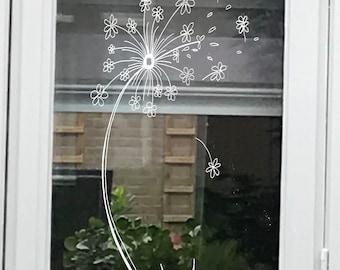 Dandelion flower window drawing - DIY Print for your window - Summer flowers - doodle flowers direct download