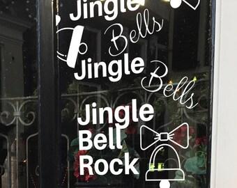 Jingle Bells, kerstliedje op raam, raamtekening kerst, kerstmis krijtstifttekening, kerstversiering, kerst kado, winterse raamversiering.