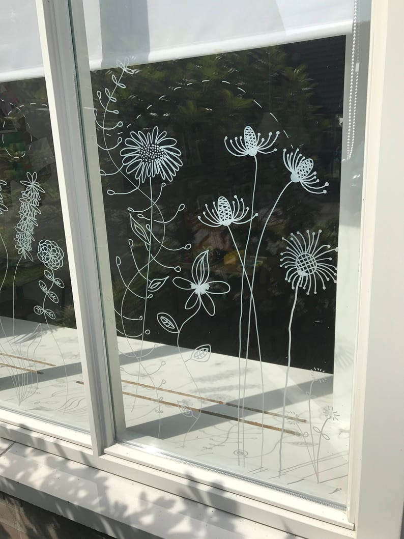 Botanical flowers window drawing  DIY Print for your window  image 0