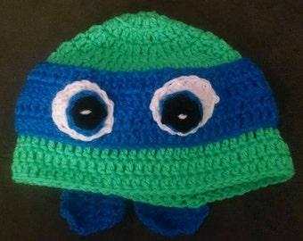 Homemade crochet ninja turtle hat