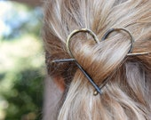 Rustic heart brass hair barrette