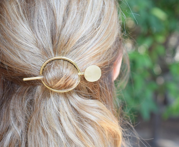 brass hair pin brass hair jewelry Brass hair barrette with zig zag stick
