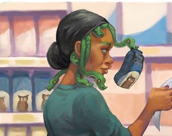 Moderne mythes Medusa • beaux-arts • illustration • mythologie • serpents