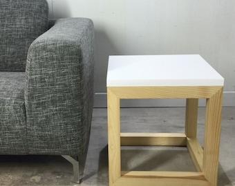 Design Side Table White Quartz Base Of Wood Ash By Workshop Bussière Shop  Active Active