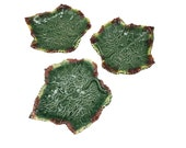 Majolica Set of 3 Footed Grape Leaf Plates Soapdishes Platters by Bordallo Pinneiro in Glazes of Green, Burgundy and Yellow Made-in-Portugal